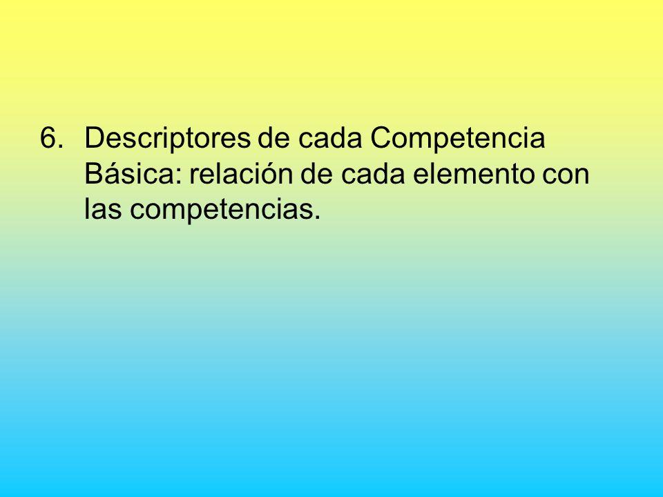 6.Descriptores de cada Competencia Básica: relación de cada elemento con las competencias.