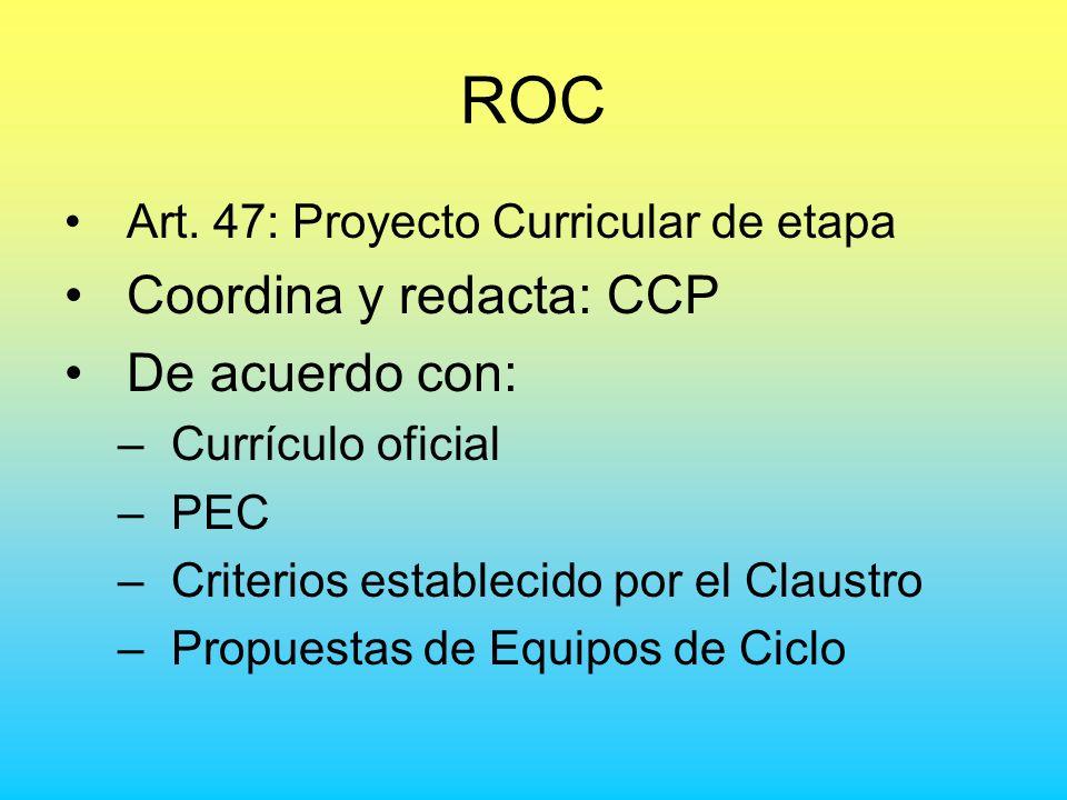 ROC Art. 47: Proyecto Curricular de etapa Coordina y redacta: CCP De acuerdo con: –Currículo oficial –PEC –Criterios establecido por el Claustro –Prop