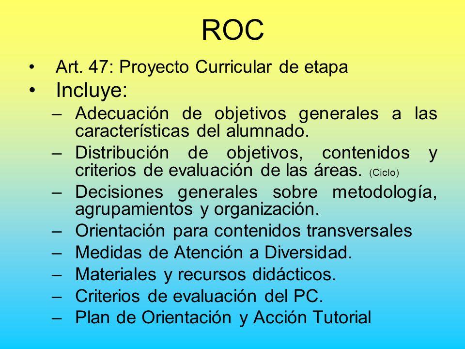 ROC Art. 47: Proyecto Curricular de etapa Incluye: –Adecuación de objetivos generales a las características del alumnado. –Distribución de objetivos,