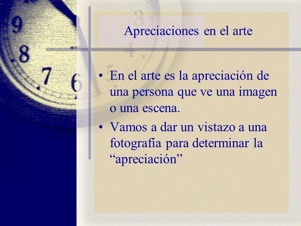 Apreciaciones en el arte En el arte es la apreciación de una persona que ve una imagen o una escena. Vamos a dar un vistazo a una fotografía para dete