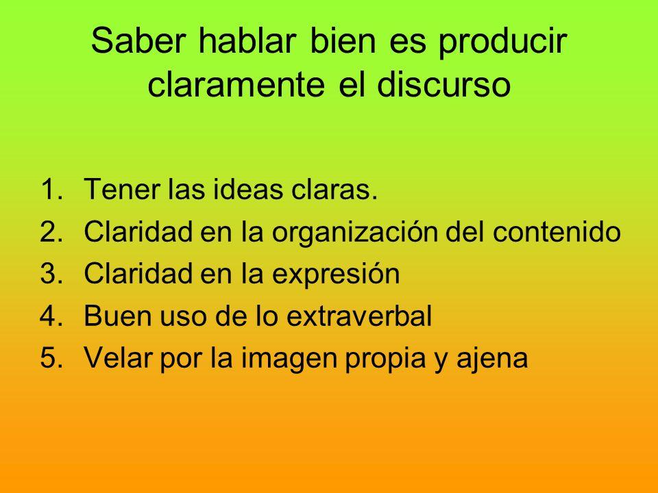 Saber hablar bien es producir claramente el discurso 1.Tener las ideas claras. 2.Claridad en la organización del contenido 3.Claridad en la expresión