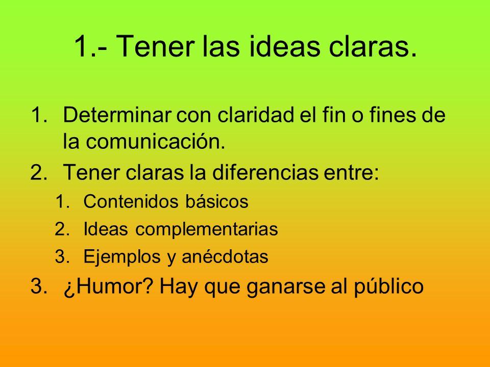 1.- Tener las ideas claras. 1.Determinar con claridad el fin o fines de la comunicación. 2.Tener claras la diferencias entre: 1.Contenidos básicos 2.I