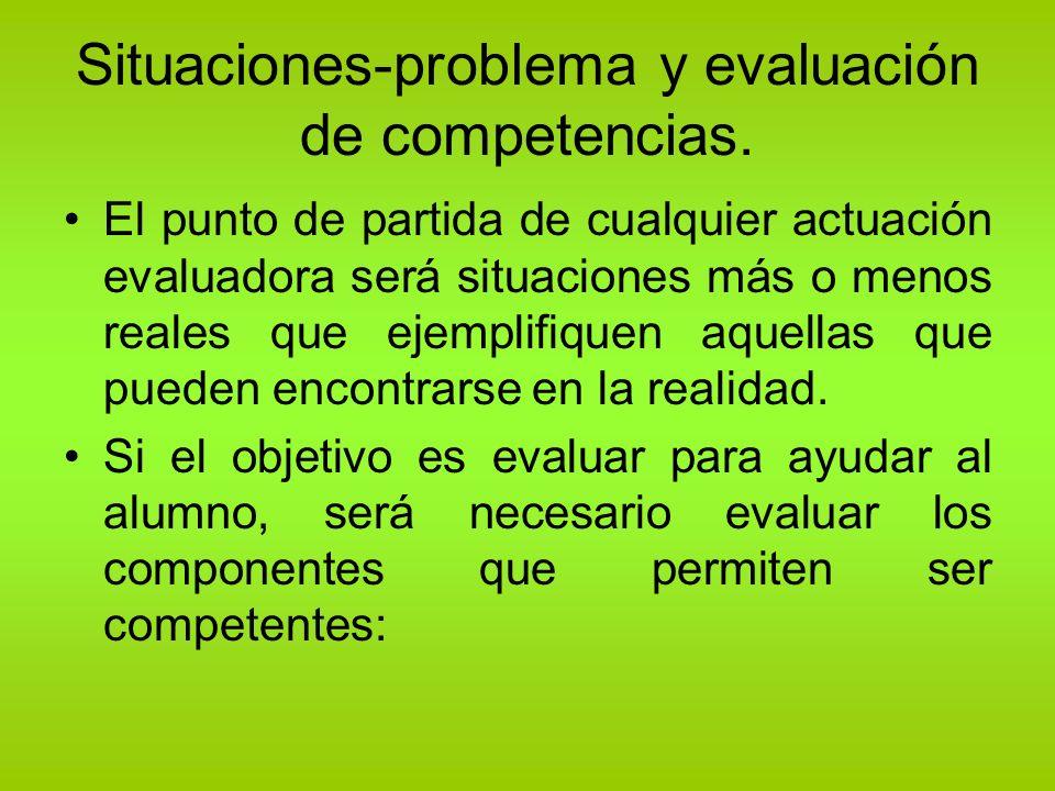 Situaciones-problema y evaluación de competencias. El punto de partida de cualquier actuación evaluadora será situaciones más o menos reales que ejemp