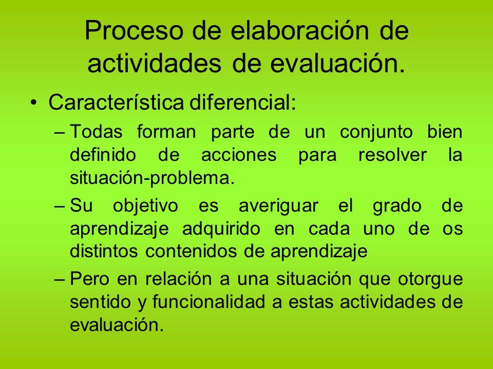 Proceso de elaboración de actividades de evaluación. Característica diferencial: –Todas forman parte de un conjunto bien definido de acciones para res