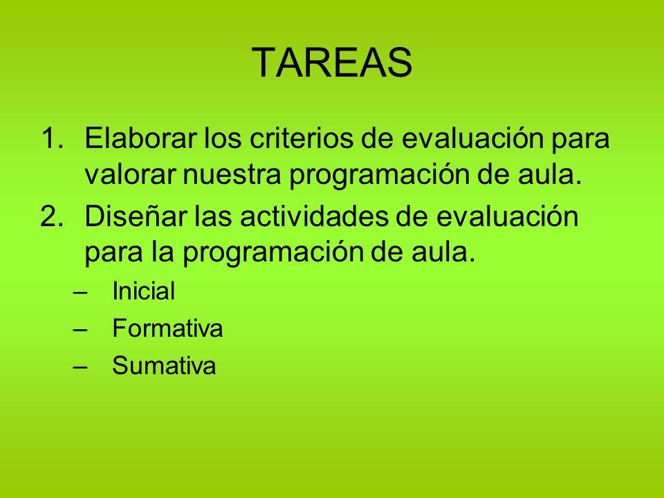 TAREAS 1.Elaborar los criterios de evaluación para valorar nuestra programación de aula. 2.Diseñar las actividades de evaluación para la programación