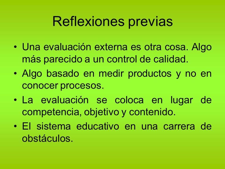 Reflexiones previas Una evaluación externa es otra cosa. Algo más parecido a un control de calidad. Algo basado en medir productos y no en conocer pro