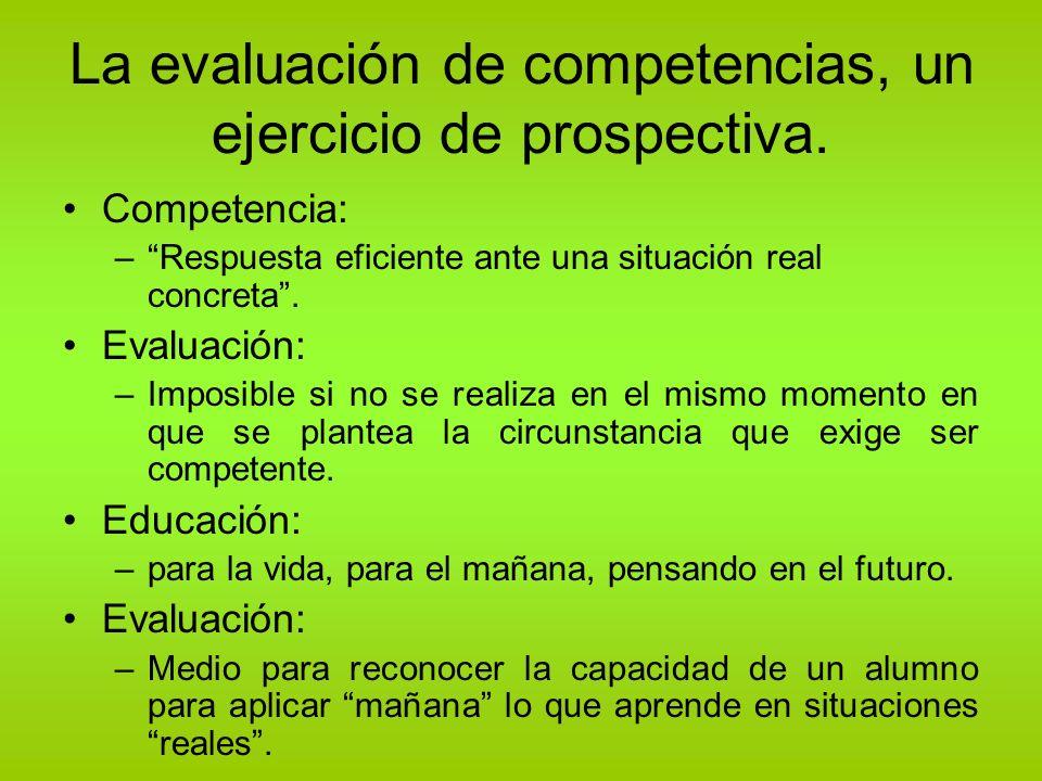 La evaluación de competencias, un ejercicio de prospectiva. Competencia: –Respuesta eficiente ante una situación real concreta. Evaluación: –Imposible