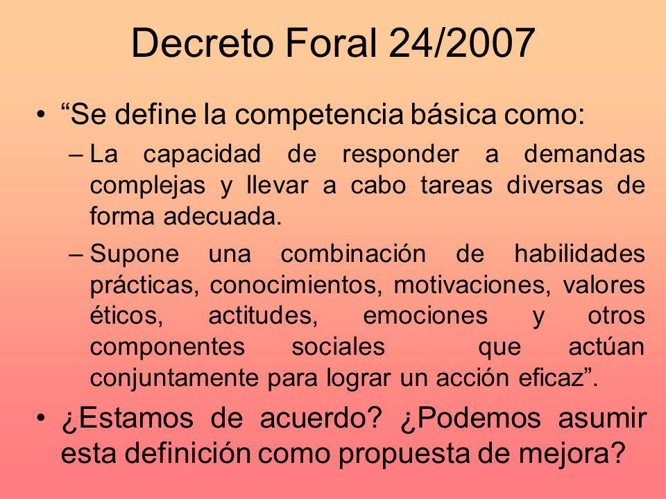 Decreto Foral 24/2007 Se define la competencia básica como: –La capacidad de responder a demandas complejas y llevar a cabo tareas diversas de forma adecuada.