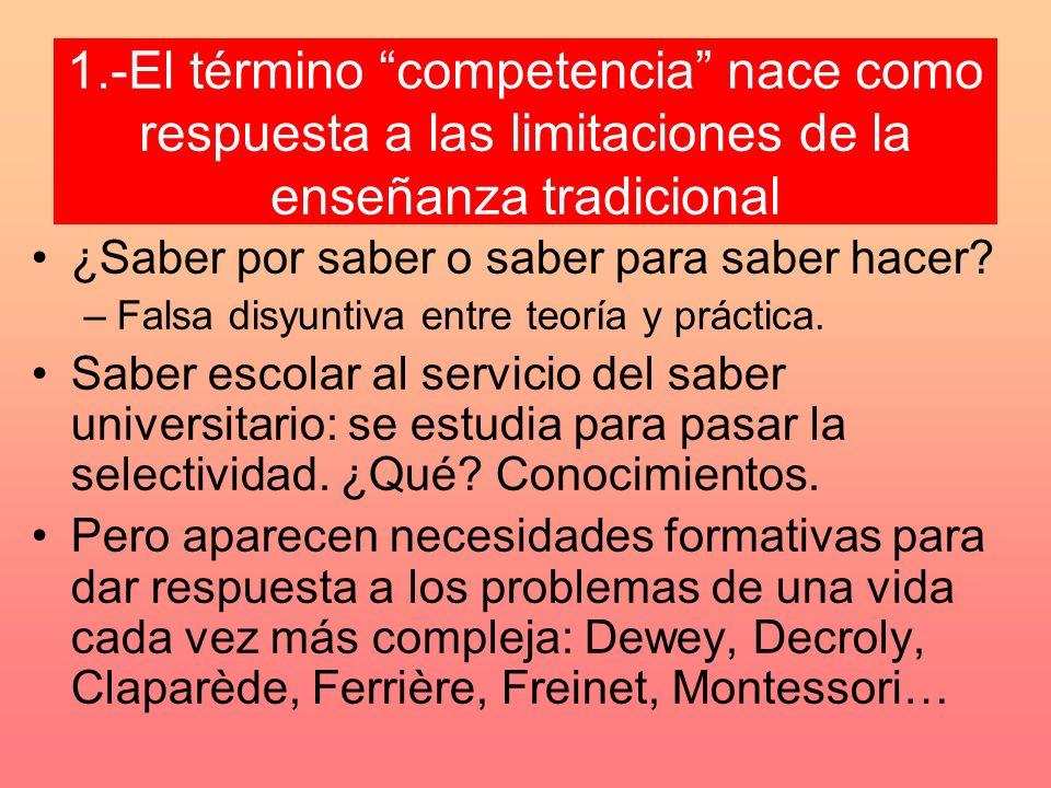 1.-El término competencia nace como respuesta a las limitaciones de la enseñanza tradicional ¿Saber por saber o saber para saber hacer.