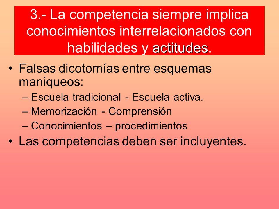 actitudes 3.- La competencia siempre implica conocimientos interrelacionados con habilidades y actitudes. Falsas dicotomías entre esquemas maniqueos: