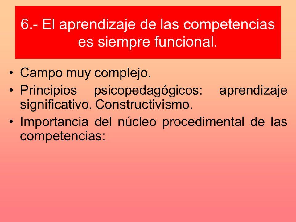 6.- El aprendizaje de las competencias es siempre funcional. Campo muy complejo. Principios psicopedagógicos: aprendizaje significativo. Constructivis