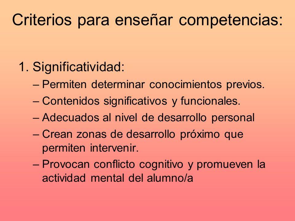 Criterios para enseñar competencias: 1. Significatividad: –Permiten determinar conocimientos previos. –Contenidos significativos y funcionales. –Adecu