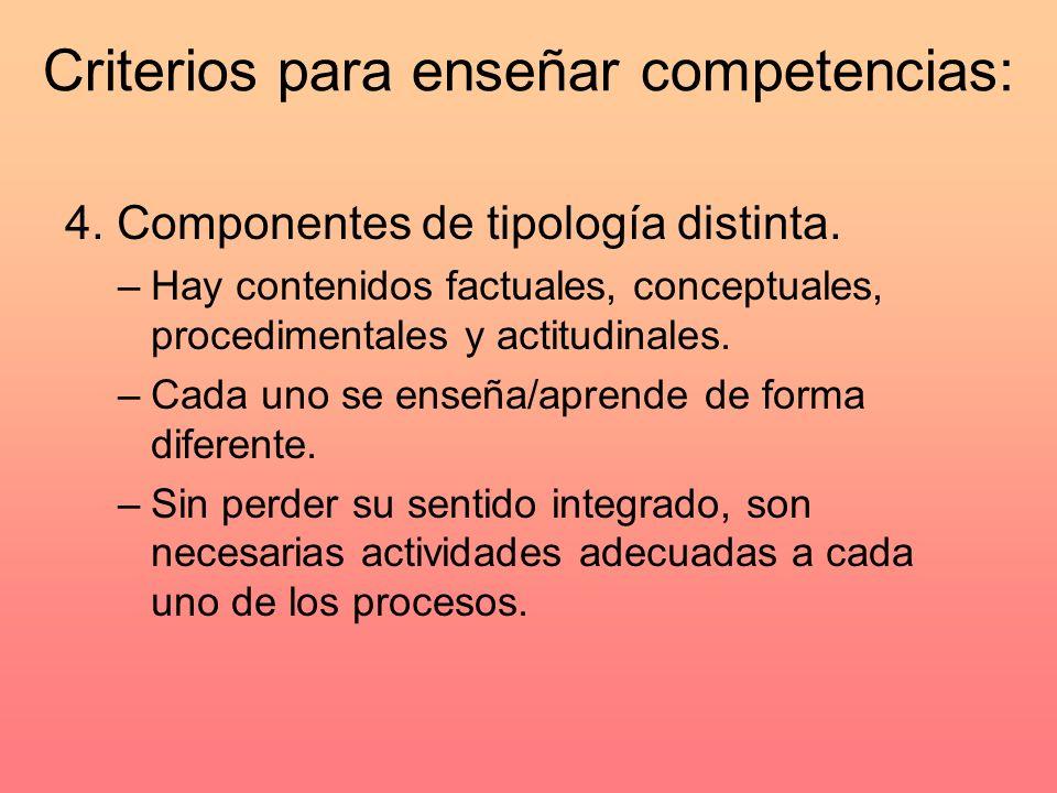 Criterios para enseñar competencias: 4.Componentes de tipología distinta.