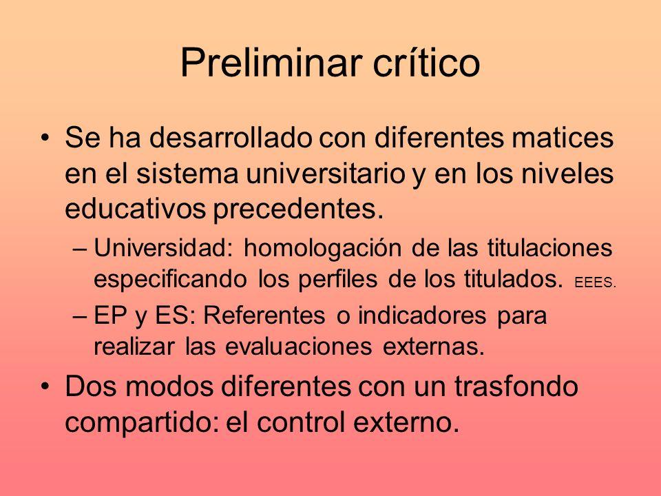 Preliminar crítico Se ha desarrollado con diferentes matices en el sistema universitario y en los niveles educativos precedentes.