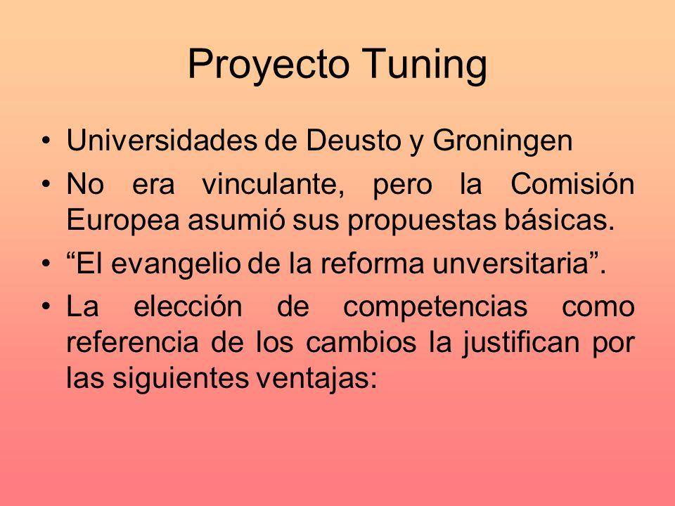 Proyecto Tuning Universidades de Deusto y Groningen No era vinculante, pero la Comisión Europea asumió sus propuestas básicas. El evangelio de la refo
