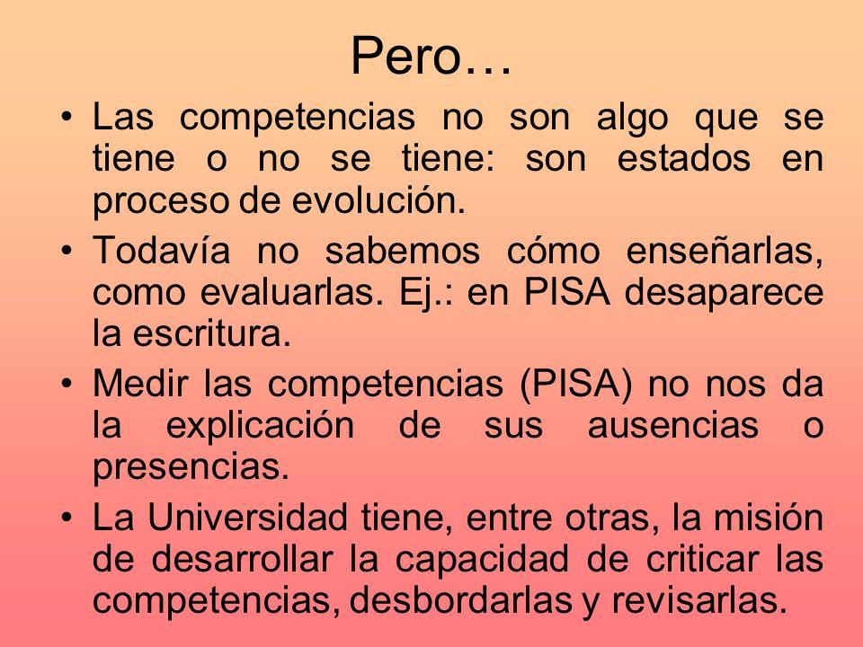 Pero… Las competencias no son algo que se tiene o no se tiene: son estados en proceso de evolución.