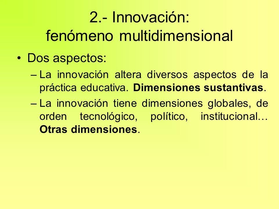 2.- Innovación: fenómeno multidimensional Dos aspectos: –La innovación altera diversos aspectos de la práctica educativa. Dimensiones sustantivas. –La