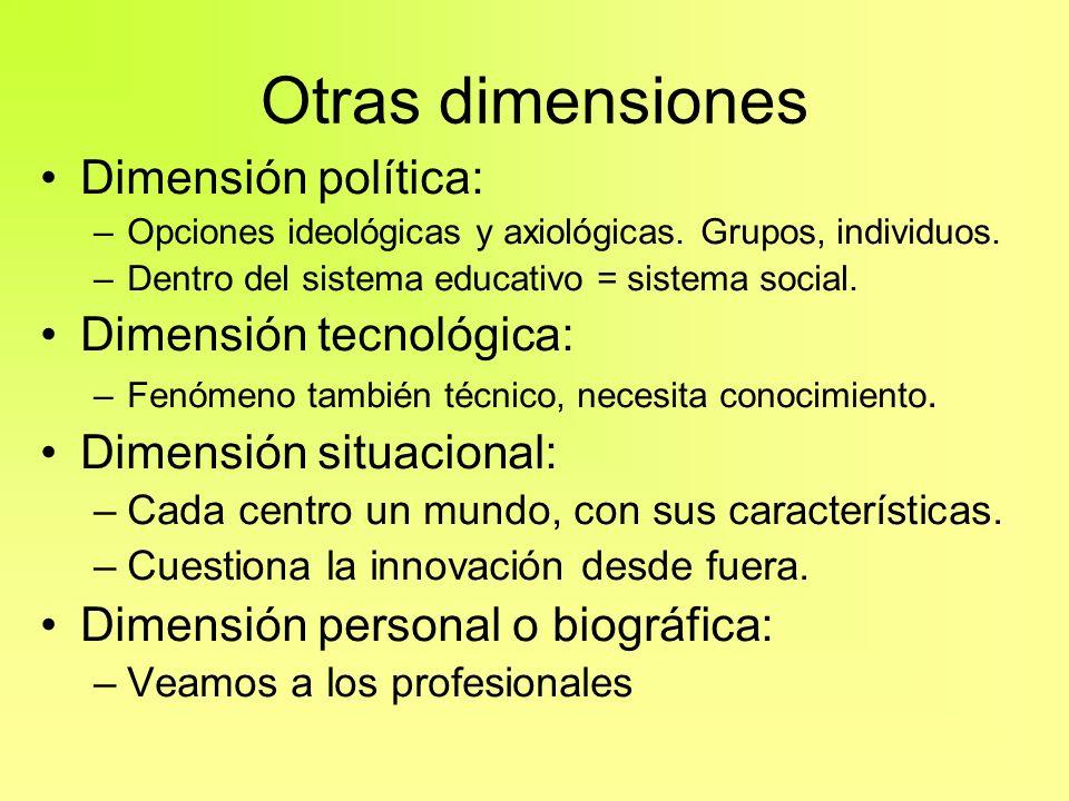 Otras dimensiones Dimensión política: –Opciones ideológicas y axiológicas. Grupos, individuos. –Dentro del sistema educativo = sistema social. Dimensi
