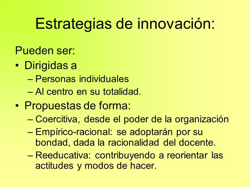 Estrategias de innovación: Pueden ser: Dirigidas a –Personas individuales –Al centro en su totalidad. Propuestas de forma: –Coercitiva, desde el poder