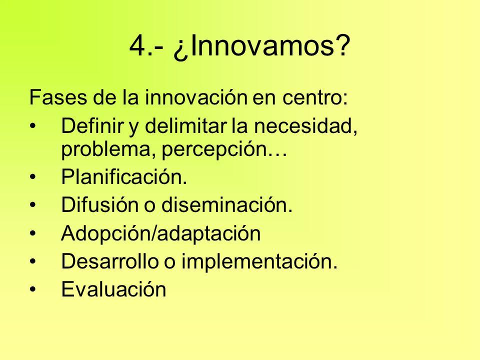 4.- ¿Innovamos? Fases de la innovación en centro: Definir y delimitar la necesidad, problema, percepción… Planificación. Difusión o diseminación. Adop