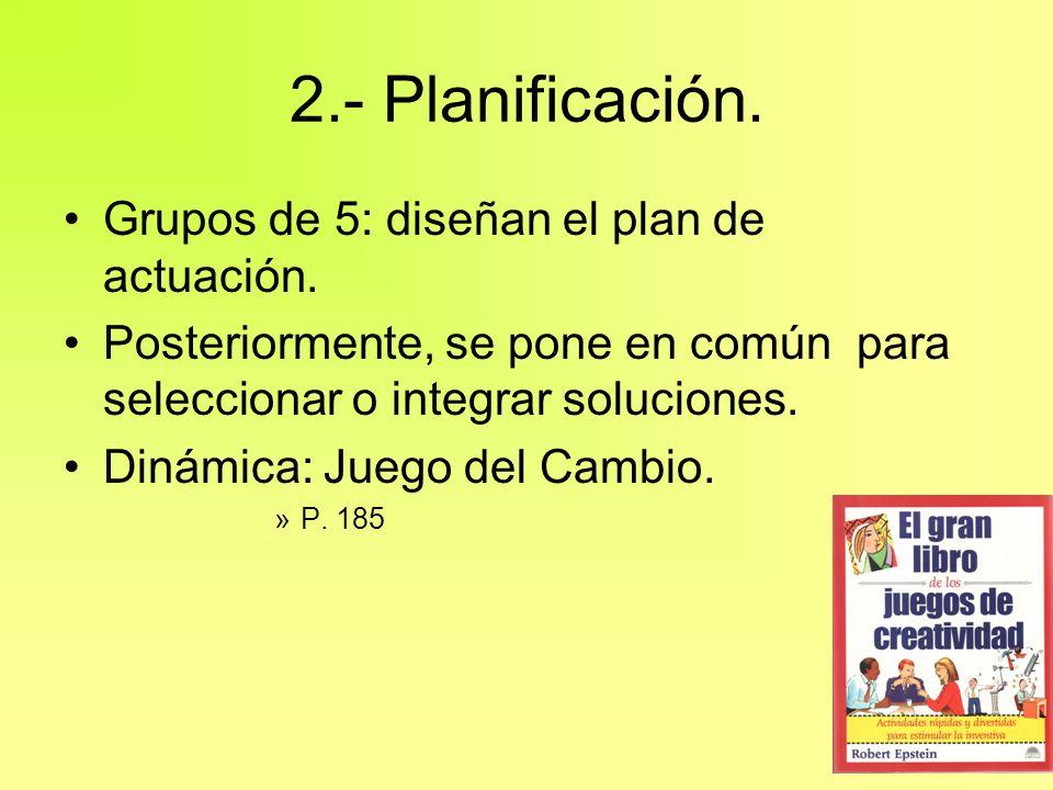 2.- Planificación. Grupos de 5: diseñan el plan de actuación. Posteriormente, se pone en común para seleccionar o integrar soluciones. Dinámica: Juego