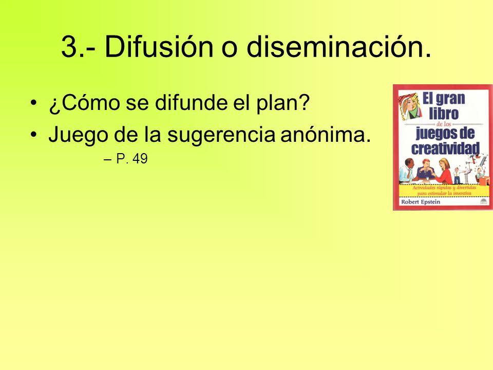 3.- Difusión o diseminación. ¿Cómo se difunde el plan? Juego de la sugerencia anónima. –P. 49