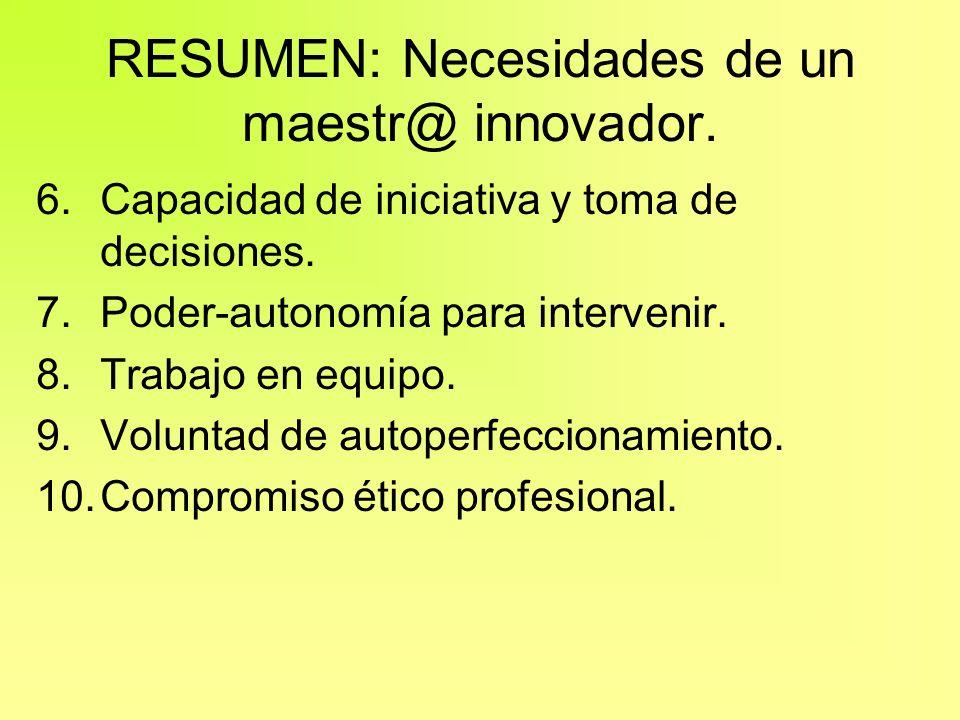 RESUMEN: Necesidades de un maestr@ innovador. 6.Capacidad de iniciativa y toma de decisiones. 7.Poder-autonomía para intervenir. 8.Trabajo en equipo.