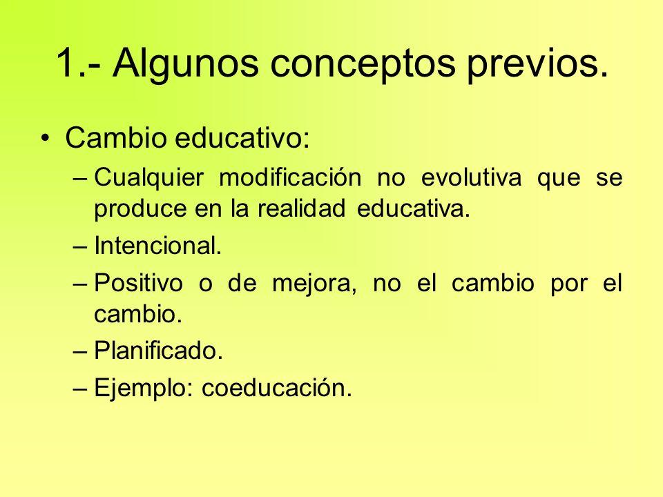 1.- Algunos conceptos previos. Cambio educativo: –Cualquier modificación no evolutiva que se produce en la realidad educativa. –Intencional. –Positivo