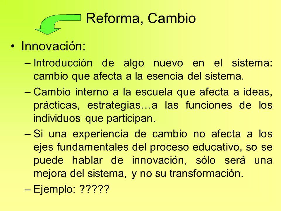 Reforma, Cambio Innovación: –Introducción de algo nuevo en el sistema: cambio que afecta a la esencia del sistema. –Cambio interno a la escuela que af