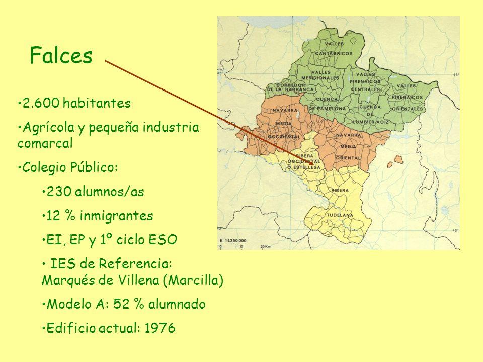 Falces 2.600 habitantes Agrícola y pequeña industria comarcal Colegio Público: 230 alumnos/as 12 % inmigrantes EI, EP y 1º ciclo ESO IES de Referencia
