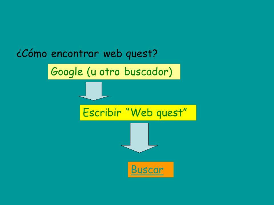 ¿Cómo encontrar web quest? Buscar Escribir Web quest Google (u otro buscador)