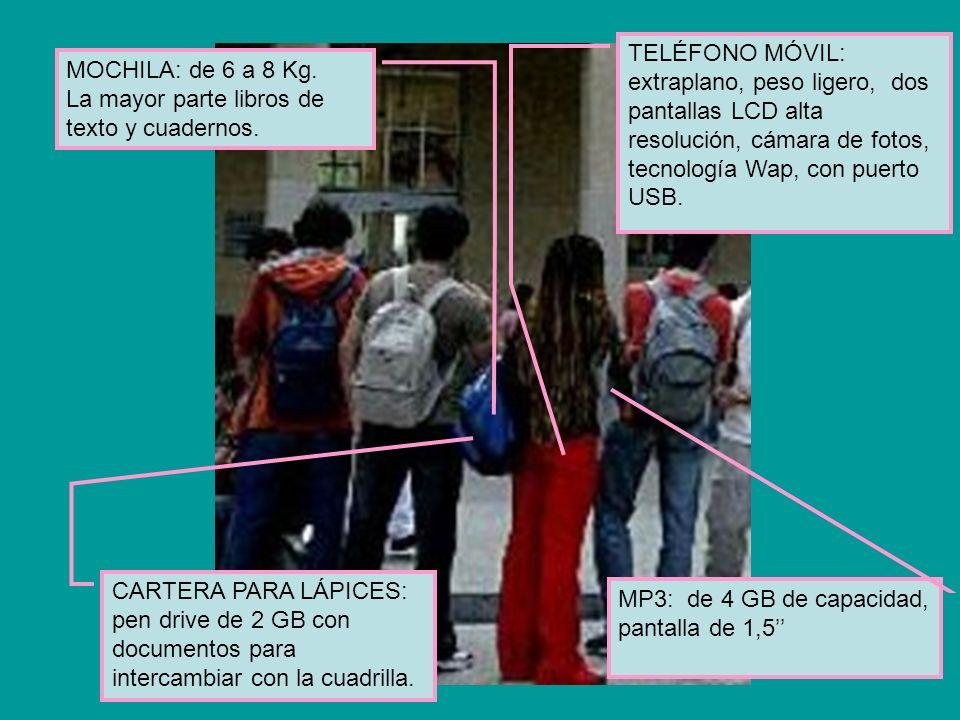 MOCHILA: de 6 a 8 Kg. La mayor parte libros de texto y cuadernos. TELÉFONO MÓVIL: extraplano, peso ligero, dos pantallas LCD alta resolución, cámara d