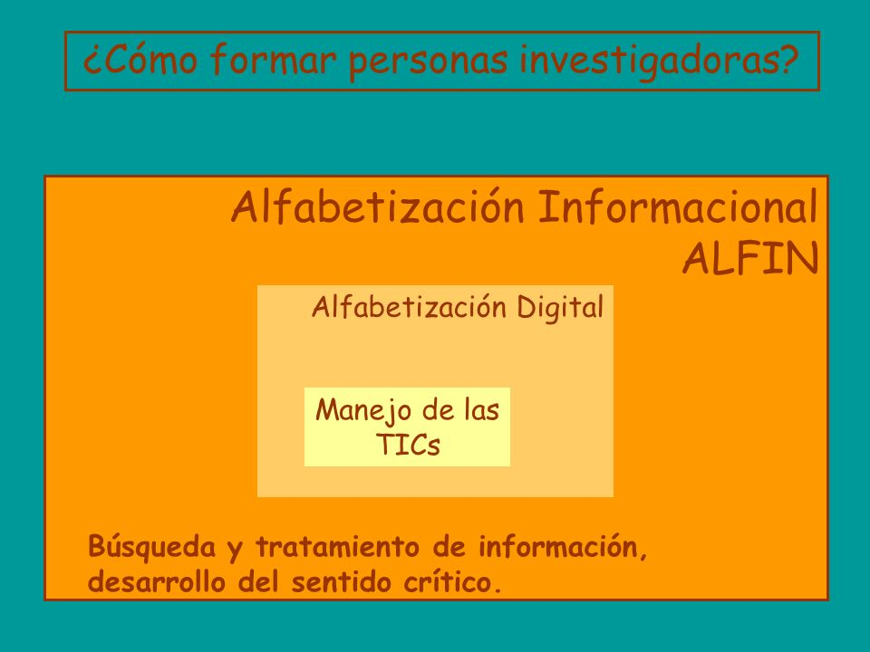 Alfabetización Informacional ALFIN Alfabetización Digital Manejo de las TICs Búsqueda y tratamiento de información, desarrollo del sentido crítico. ¿C