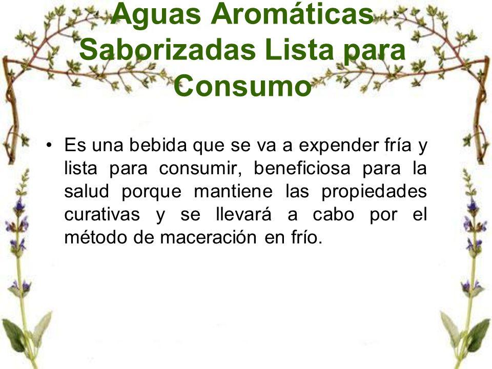 Aguas Aromáticas Saborizadas Lista para Consumo Es una bebida que se va a expender fría y lista para consumir, beneficiosa para la salud porque mantie