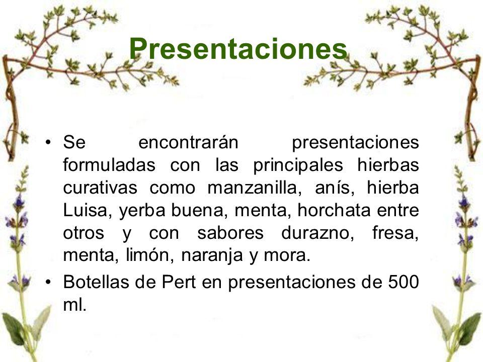 Presentaciones Se encontrarán presentaciones formuladas con las principales hierbas curativas como manzanilla, anís, hierba Luisa, yerba buena, menta,