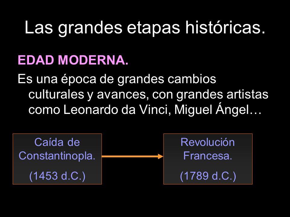 Las grandes etapas históricas. EDAD MODERNA. Es una época de grandes cambios culturales y avances, con grandes artistas como Leonardo da Vinci, Miguel