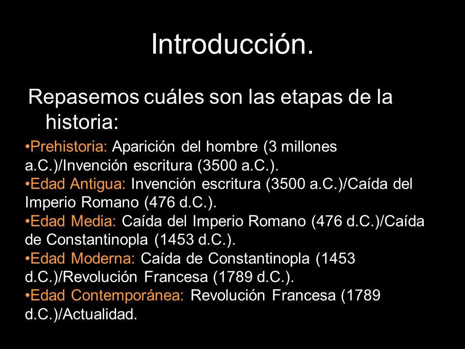 Repasemos cuáles son las etapas de la historia: Prehistoria: Aparición del hombre (3 millones a.C.)/Invención escritura (3500 a.C.). Edad Antigua: Inv