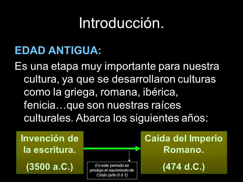 Introducción. EDAD ANTIGUA: Es una etapa muy importante para nuestra cultura, ya que se desarrollaron culturas como la griega, romana, ibérica, fenici