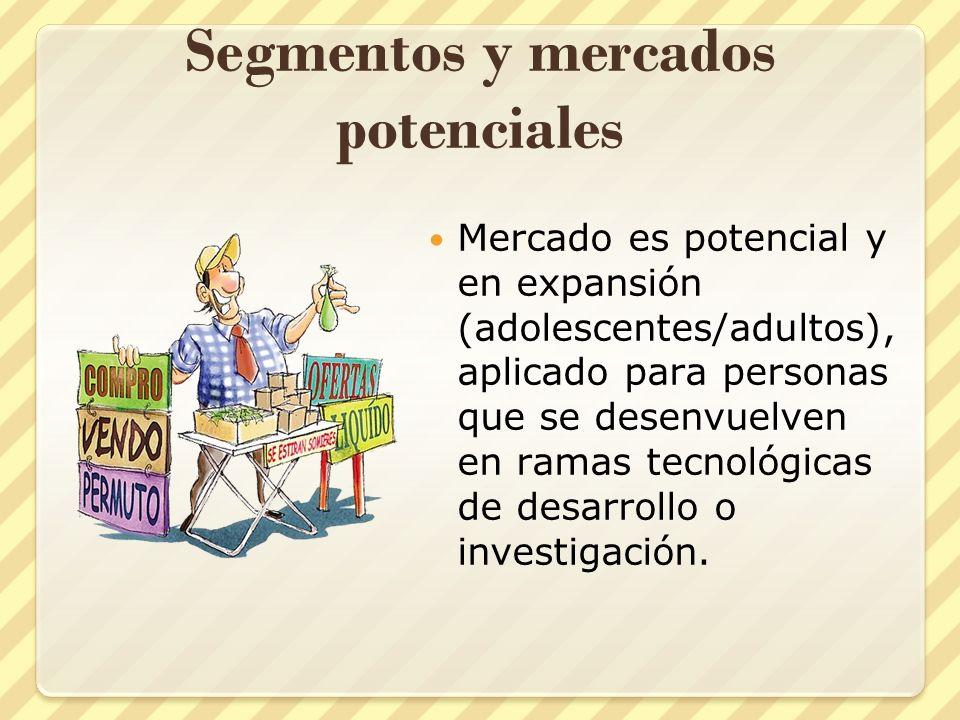 Segmentos y mercados potenciales Mercado es potencial y en expansión (adolescentes/adultos), aplicado para personas que se desenvuelven en ramas tecno