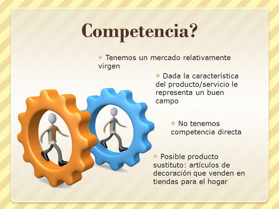 Competencia? Tenemos un mercado relativamente virgen Dada la característica del producto/servicio le representa un buen campo No tenemos competencia d