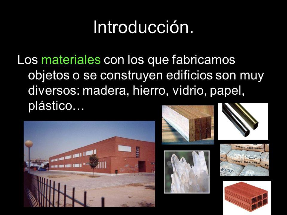 Introducción. Los materiales con los que fabricamos objetos o se construyen edificios son muy diversos: madera, hierro, vidrio, papel, plástico…
