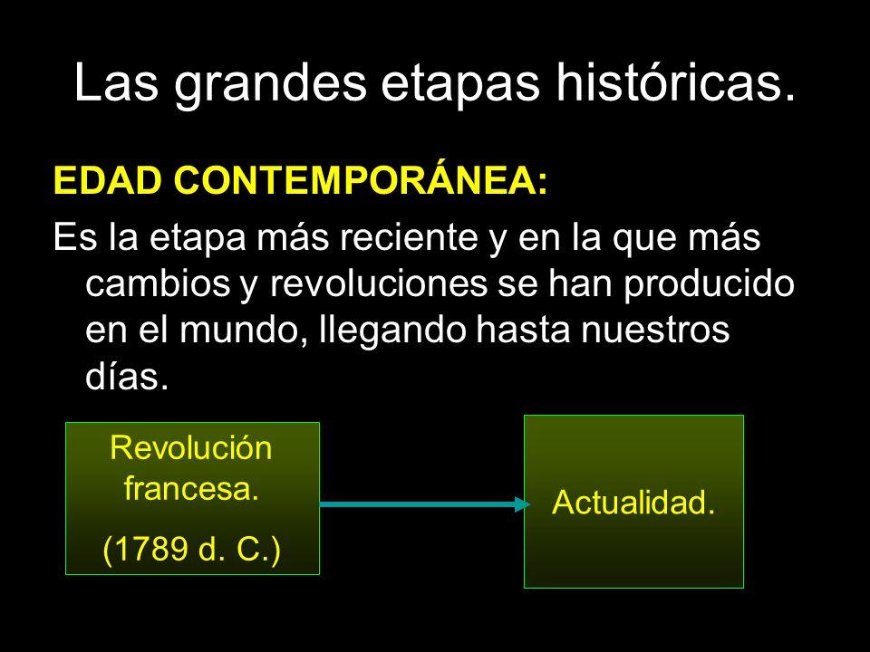 Las grandes etapas históricas. EDAD CONTEMPORÁNEA: Es la etapa más reciente y en la que más cambios y revoluciones se han producido en el mundo, llega