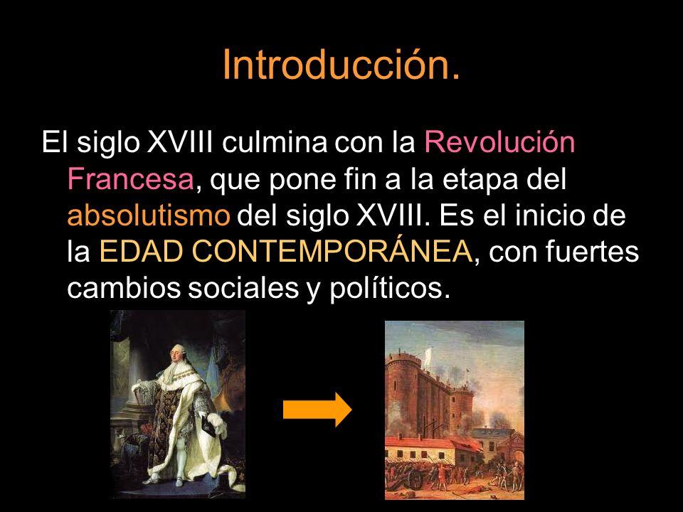 Introducción. El siglo XVIII culmina con la Revolución Francesa, que pone fin a la etapa del absolutismo del siglo XVIII. Es el inicio de la EDAD CONT
