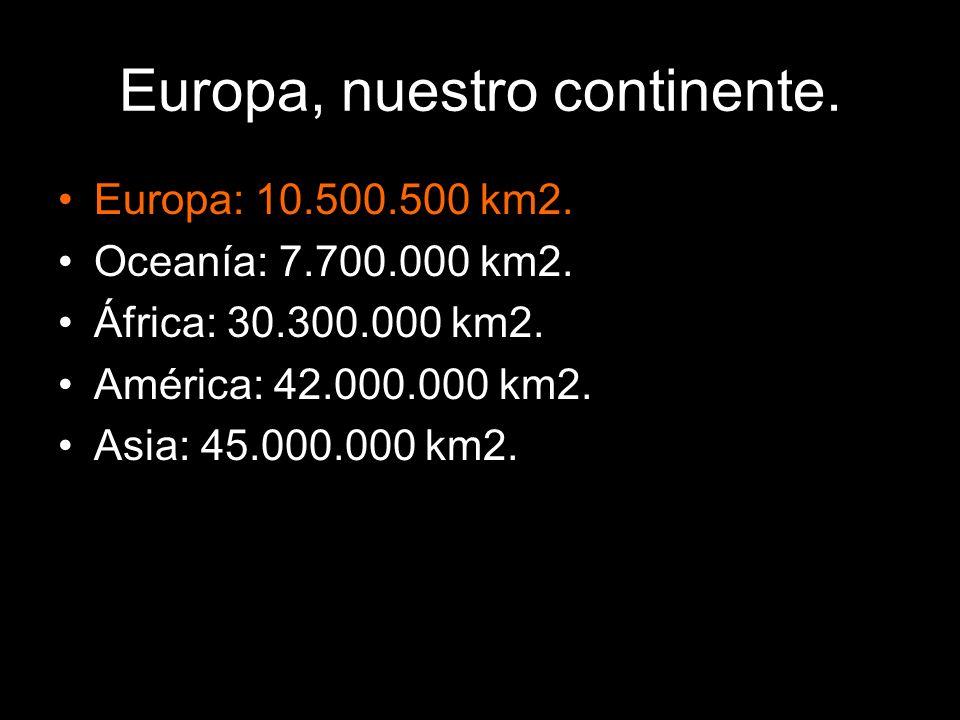 Europa, nuestro continente.Europa: 10.500.500 km2.