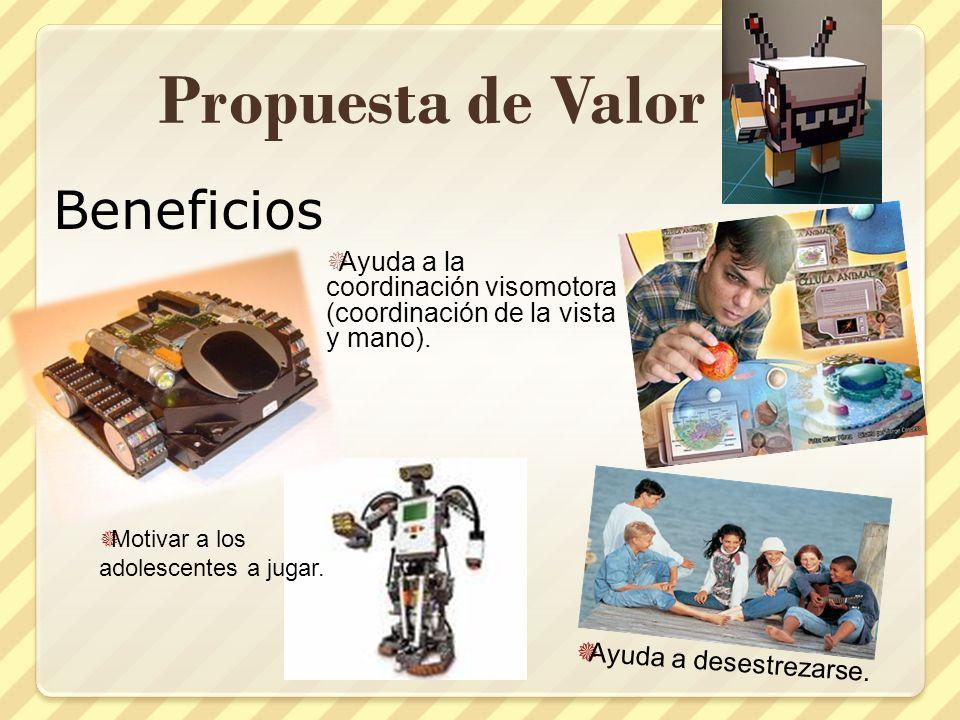 Propuesta de Valor Beneficios Ayuda a la coordinación visomotora (coordinación de la vista y mano). Ayuda a desestrezarse. Motivar a los adolescentes
