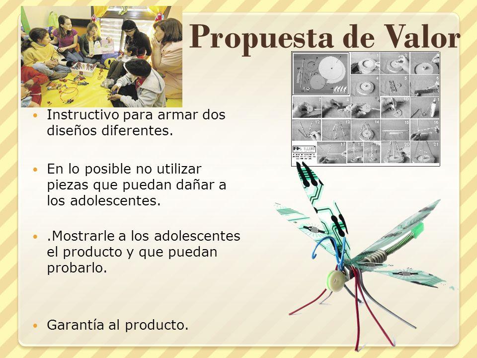 Propuesta de Valor Instructivo para armar dos diseños diferentes. En lo posible no utilizar piezas que puedan dañar a los adolescentes..Mostrarle a lo