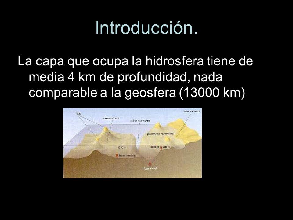Introducción. La capa que ocupa la hidrosfera tiene de media 4 km de profundidad, nada comparable a la geosfera (13000 km)