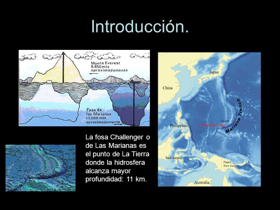 Introducción. La fosa Challenger o de Las Marianas es el punto de La Tierra donde la hidrosfera alcanza mayor profundidad: 11 km.