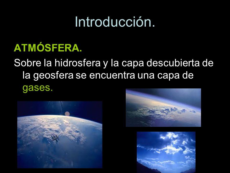 Introducción. ATMÓSFERA. Sobre la hidrosfera y la capa descubierta de la geosfera se encuentra una capa de gases.
