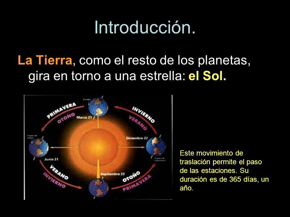 Introducción. La Tierra, como el resto de los planetas, gira en torno a una estrella: el Sol. Este movimiento de traslación permite el paso de las est